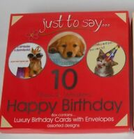 'Just To Say' Box of 10 Birthday Greeting Cards - Paws &  Whiskers