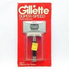 Vintage Gillette Super-Speed TTO Black Handle Safety Razor NOS Mint on Card