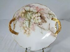 A Lanternier Limoges Handled Cake Plate Hpd. Golden Grapes Signed and Dated