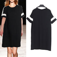 New Women Ladies Casual Shift Dress Short Sleeve AU Size 12 14 16 18 20 22 #6381