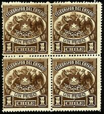 CHILE, TELEGRAPH STAMPS, 1 PESO, YEAR 1883, MNH, BLOCK OF 4