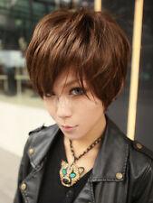 100% Human Hair Modern Light Brown Short Wigs For Women