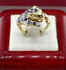 Panther Ring 10k Yellow Gold with Sapphire and Diamonds
