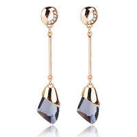 Smokey Quartz Faceted Austrian Crystal Dangle Long Pave Gold Earrings Prom Party