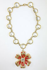 Vintage Signed 'Christian Lacroix' Gold Plated Red Enamel Necklace & Glass Stone