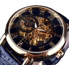 New Mens Skeleton Stainless Steel Leather Water Resistant Mechanical Wrist Watch