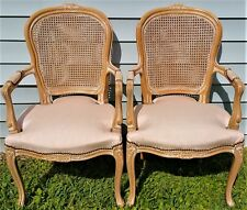 2 Chateau D'Ax Dax Louis XV French Country Cane Armchairs Provincial Bergere