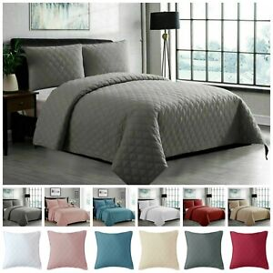 Top Quality Luxury Quilted 3PCs INSPIRATION Bedspread/Throw Embossed Bedding Set