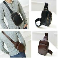Men's Leather Chest Sling Pack Cross Body Shoulder Bag Sport Backpack Satchel