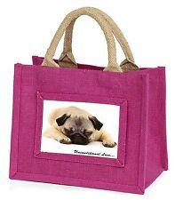 Pug Dog-With Love Little Girls Small Pink Shopping Bag Christmas Gif, AD-P92uBMP