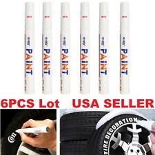 6PC White Paint Pen Marker Waterproof Permanent Car Tire Lettering Rubber Letter