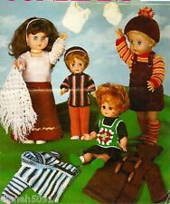 """Crochet & Knitting Pattern Doll Clothes For 12"""" and 16"""" Dolls 17 Pieces"""