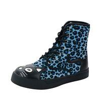 T.U.K. Kitty Cat Face & Tail Blue Leopard Print 7 Eye & Zip Combat Sneaker Boots