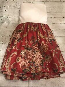 FAB! VTG Ralph Lauren Danielle Marseilles Red Floral Queen Bed Skirt USA  MINT!