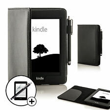 Leather Black Smart Case for Amazon Kindle Paperwhite 2015 + Stylus Screen Prot