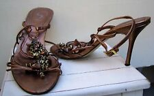 Strappy & Beaded Copper Leather Heel Shoes Size-39