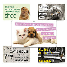 Cute Cat and Dog Signs - Laminated Card - 20cm x 12cm