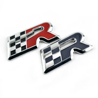 2x Gray & Red Flag R Badge for Cupra Ibiza Altea Leon Car Front Emblem Sticker