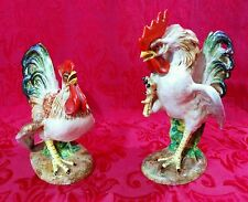 Vintage KBNY Italy Pair Fighting Roosters Cock Majolica Figurines Ugo Zaccagnini