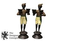 2 Blackamoor Cup Bearer Candlesticks Holders Pair Figurines Nubian Statue 11""