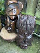 Vintage pair of AFRICAN TRIBAL WOODEN WALL MASKS ex-large carved figure crafts