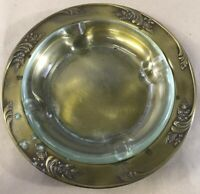 """Brass Tray Ashtray Clear Glass Vintage 10"""" C13"""