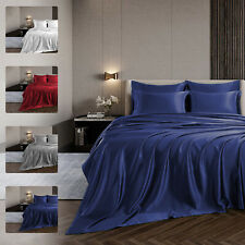 New ListingLuxury Satin Bed Fitted King Size Sheet Simulated Silk Bed Comfort Cooling Pure