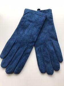 JOHN LEWIS, New, Womens Blue Suede, Fleece Lined Gloves S/M