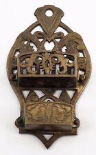 Ornate Brass Thistle Design Wall Mount Matchsafe Match Box Holder Made in Japan