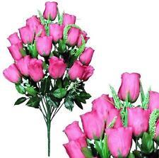 "Large Fuchsia Rose 23"" Bouquet Wedding Home Office Decor Artificial Flower Leaf"