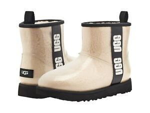 UGG Women's Classic Clear Mini Ankle Boot 1113190 Natural/Black Sz 5-12 NEW
