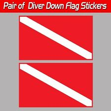 Set of Two (2) Diver Down scuba sticker decals travel flag laminated toolbox