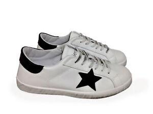 scarpe sneakers basse uomo pelle bianco nero stella Arish Nuovo fondo sfumato