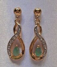 Dolce Giavonna Genuine Emerald & Diamonds 925 Silver Gold Vermeil Earrings