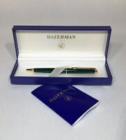Waterman Ball Point Pen Marble-Green & Gold Trim Paris France SIM Letters on End