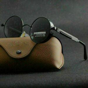 Vintage Polarized Steampunk Sunglasses Trend Round Mirrored Retro Sunglasses