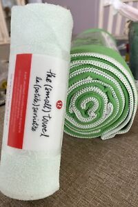 "NWT MANDUKA Green eQua Yoga Mat Swim Travel TOWEL 26.5""x72"" PLUS BONUS"