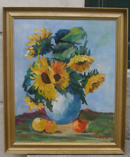 Danish Mid-Century oil.  Modern Still-life with Sunflowers. Signed. 1950s.