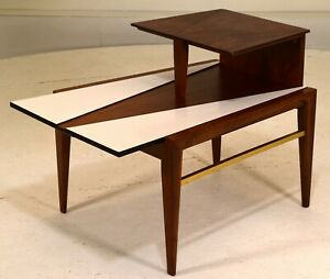 Atomic MCM Side Table Geometric walnut brass mid century modern vintage