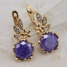 Classical Nice Purple Round CZ  Jewelry Yellow Gold Filled Huggie Earrings h2939