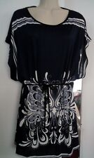 Beautiful Navy Blue & White Graphic Design Short Kimono Sleeve Top Sz M W/ Belt