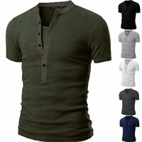 Men's Slim Fit Henley V Neck Short Sleeve Muscle Tee T-shirt Casual Tops Blouse