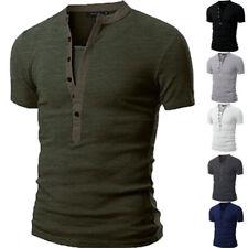 Fashion Men's V Neck Short Sleeve Summer Slim Fit Casual Sports Tee Shirt Tops