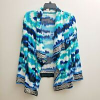 Chico's Open Front Drape Cardigan Size 2/Large Blue White Green Sweater