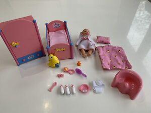 Rare Baby Born Miniworld Bundle With Doll, Bed, Wardrobe & Accessories