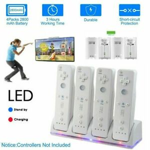 4 Pack Rechargeable Battery + Controller Charger Dock Station For WII Controller