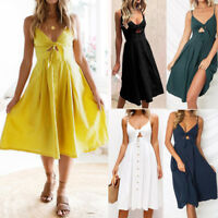 Sexy Womens Holiday Bowknot Lace Up Ladies Summer Beach Buttons Party Dress