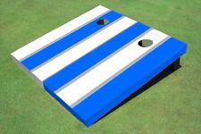 White And Blue Alternating Long Stripe Custom Cornhole Board - Aat-2194
