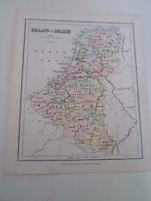 Antique Map 1890 ~ HOLLAND & BELGIUM - From Philips Atlas For Beginners  §8