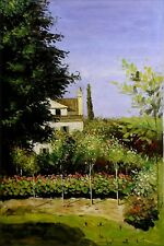 Claude Monet Garden Flowers Repro, Hand Painted Oil Painting on Canvas, 24x36in